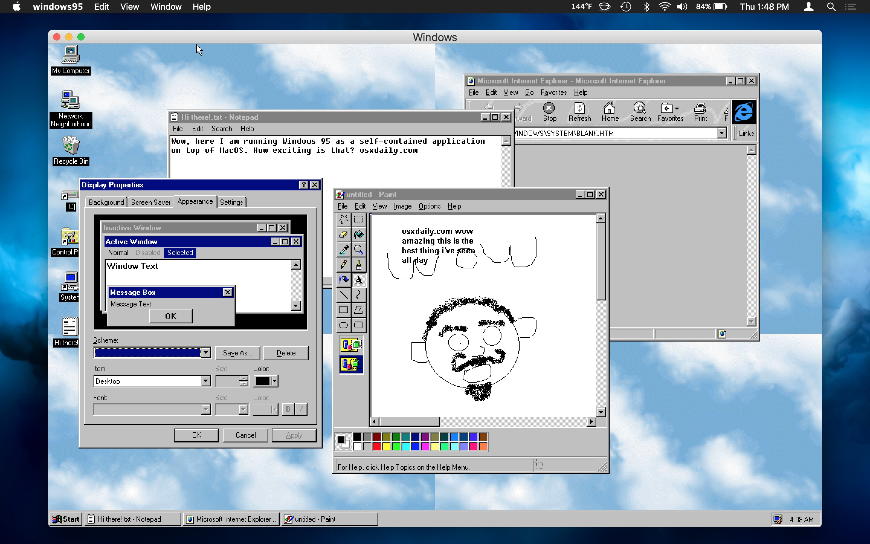 Windows 95 running on modern Mac OS