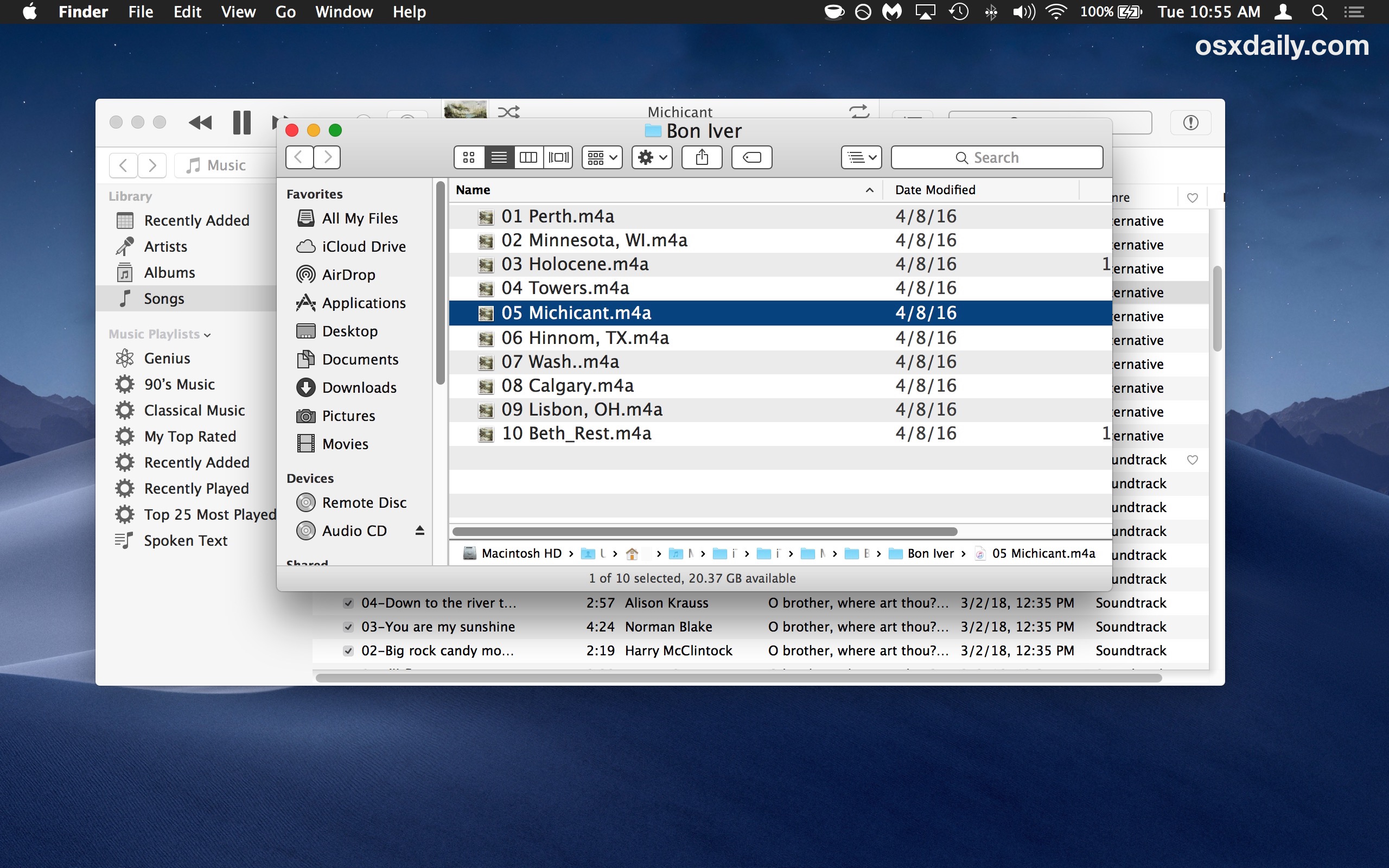 The original audio file location opened in the file system from iTunes