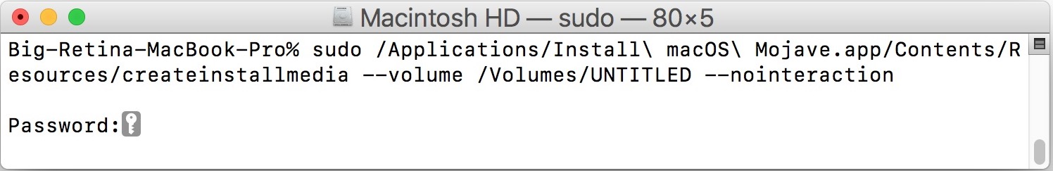 Command syntax for creating the macOS Mojave boot install drive