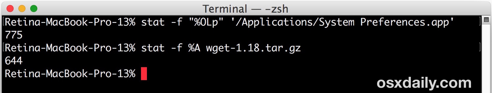 How to get file permissions as octal value on Mac from command line