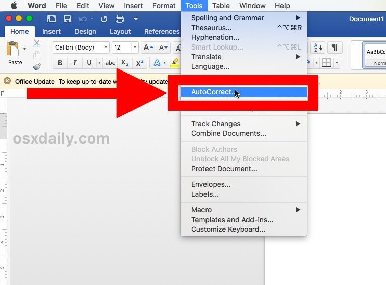 How to disable Word automatically capitalizing first letter of a sentence