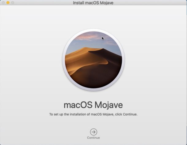 Install macOS Mojave screen