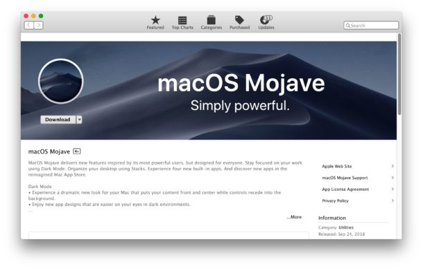 Download MacOS Mojave from the Mac App Store