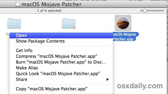 Open the Mojave Patcher tool