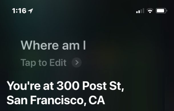Get current location with Siri on iPhone