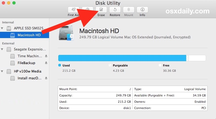 Erase the Mac drive to clean install MacOS Catalina