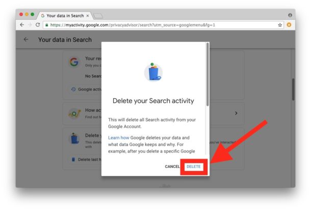 How to delete all Google search activity
