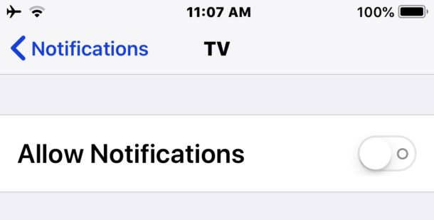 Disable All TV Notifications on iPhone or iPad