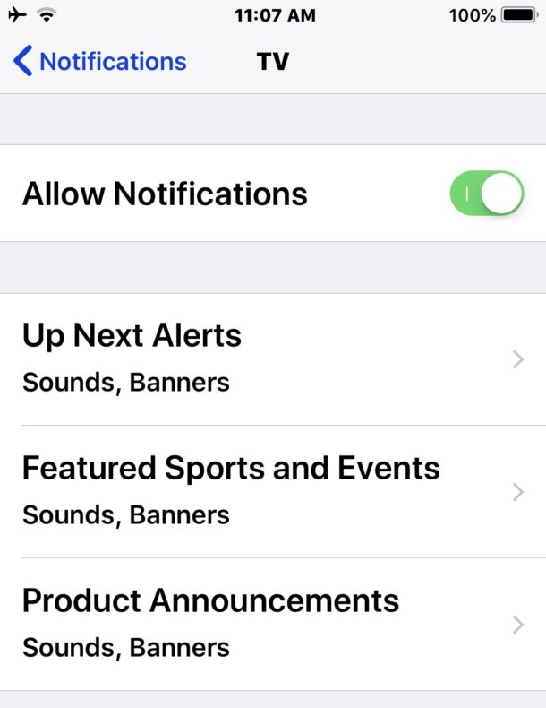 TV Notification settings for ads products events sports etc