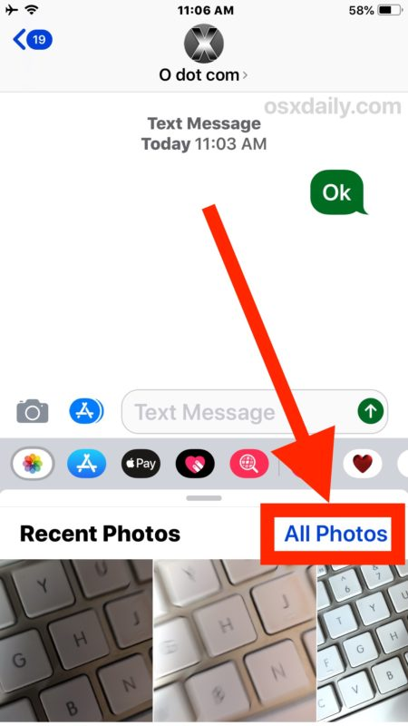 How to access All Photos in Messages for iOS 12