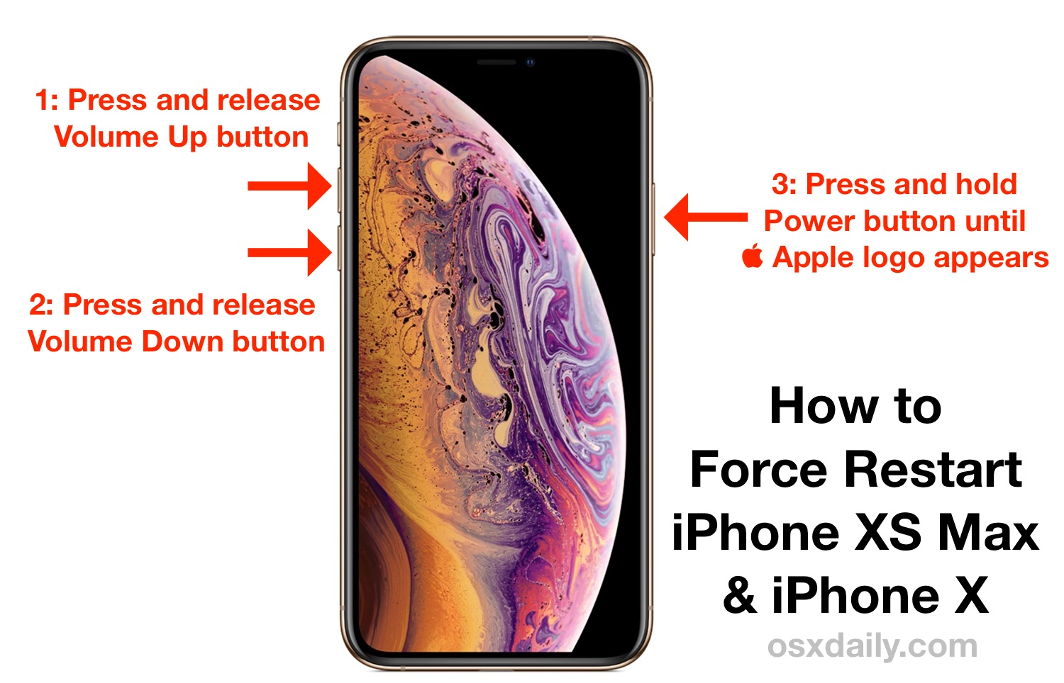 How to force restart iPhone XS Max and iPhone XS