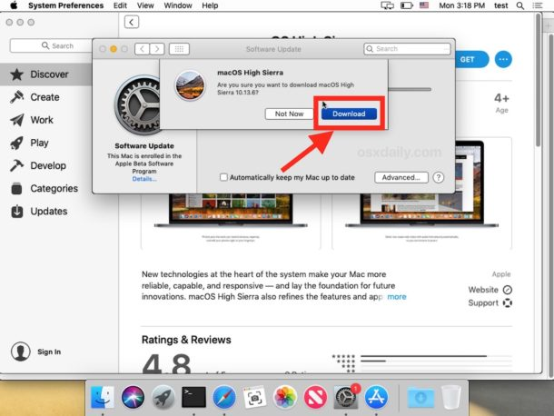 Download macOS High Sierra from within MacOS Mojave