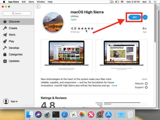 Download MacOS High Sierra from Mojave