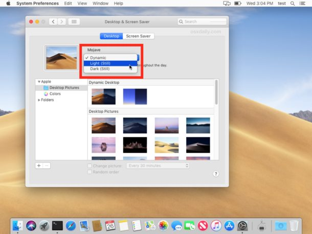 Adjusing Dynamic Desktops to be Dynamic or Still