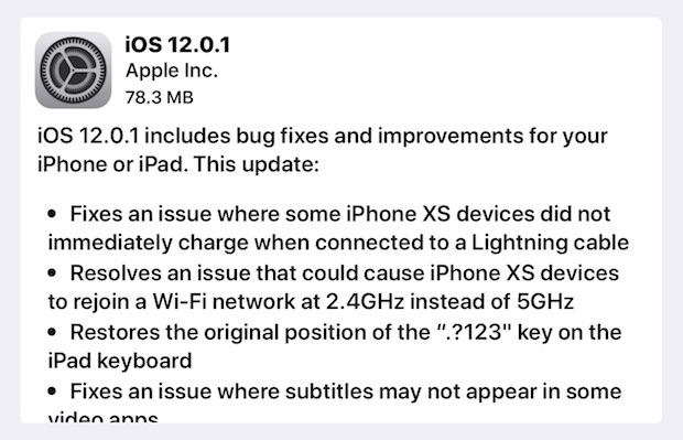 iOS 12.0.1 software update