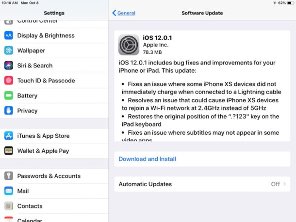 iOS 12.0.1 update download