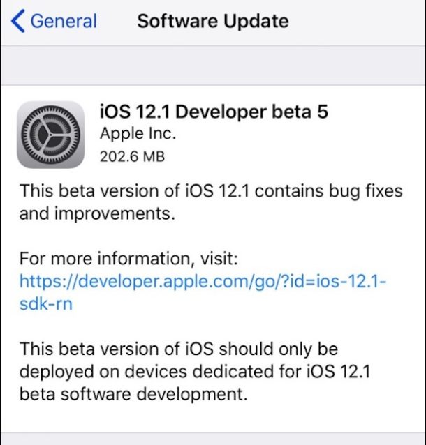 iOS 12.1 beta 5 download available