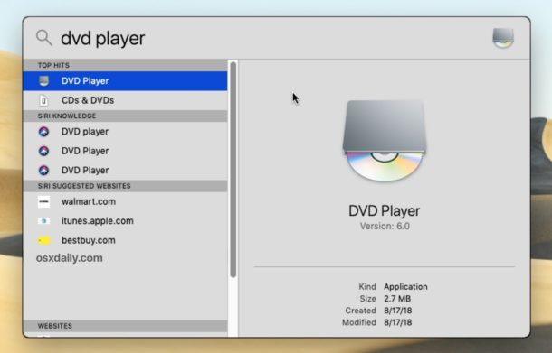 DVD Player in MacOS can be opened with Spotlight