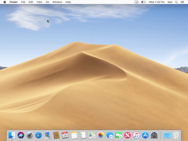 A clean install of macOS Mojave showing a fresh desktop