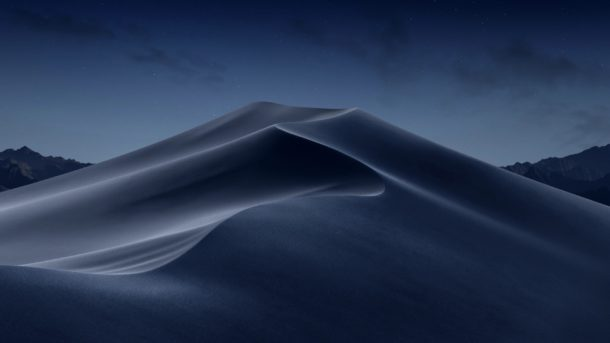 Dark desktop picture of Mojave desert dunes when Dynamic and middle of night