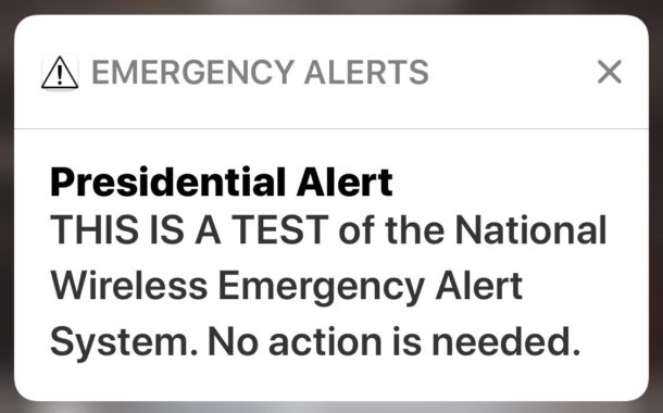 Presidential Alert on iPhone