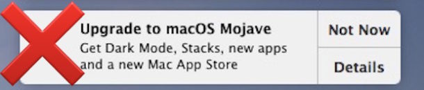 Stop the Upgrade to MacOS Mojave notification banners