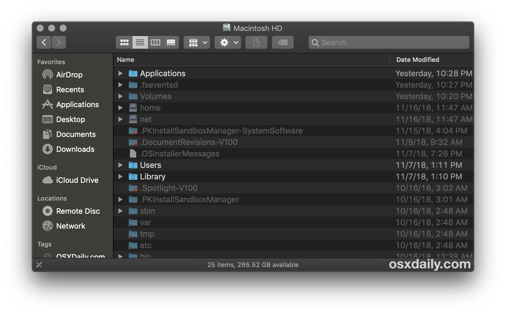 The Darker Dark theme in Mac OS