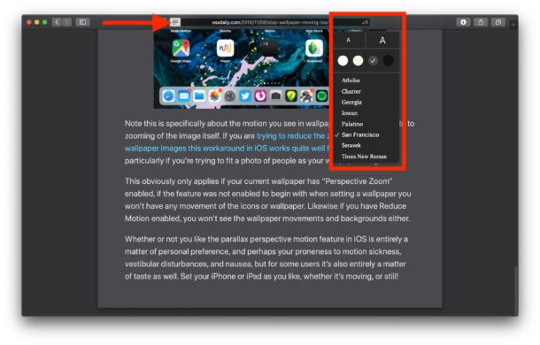 Dark Reader mode in Safari