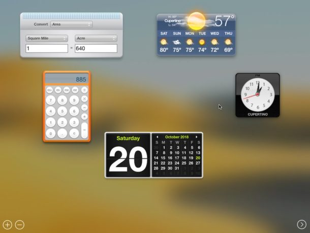 Dashboard in MacOS Mojave
