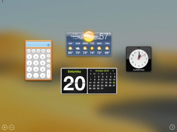 Enable Dashboard in MacOS Mojave
