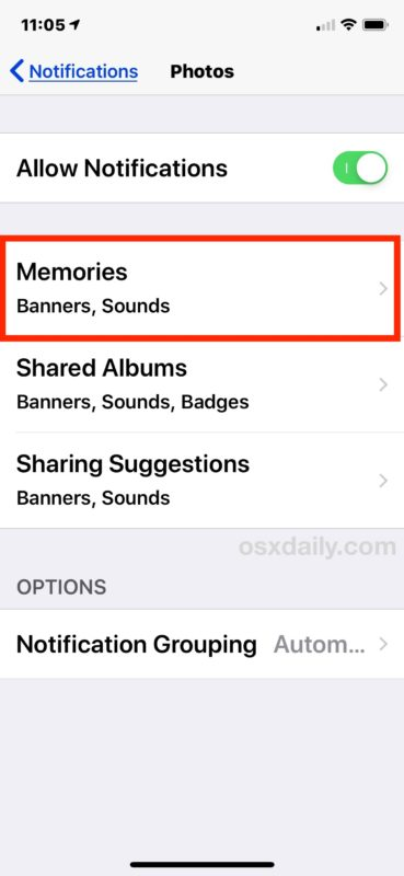 How to disable the Photos You Have New Memories notifications in iOS