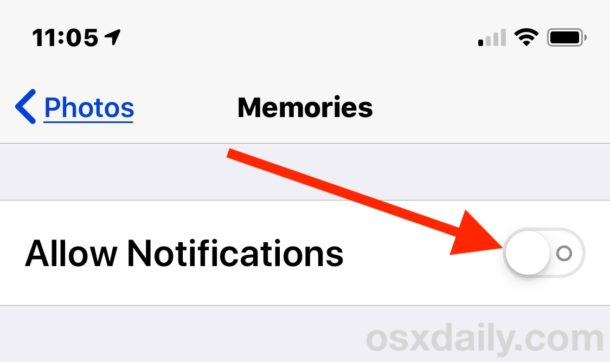 Disable Photos Memories notifications in iOS settings