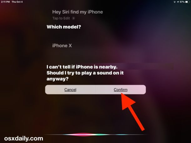 Confirm that you want to find the lost iPhone by playing a sound