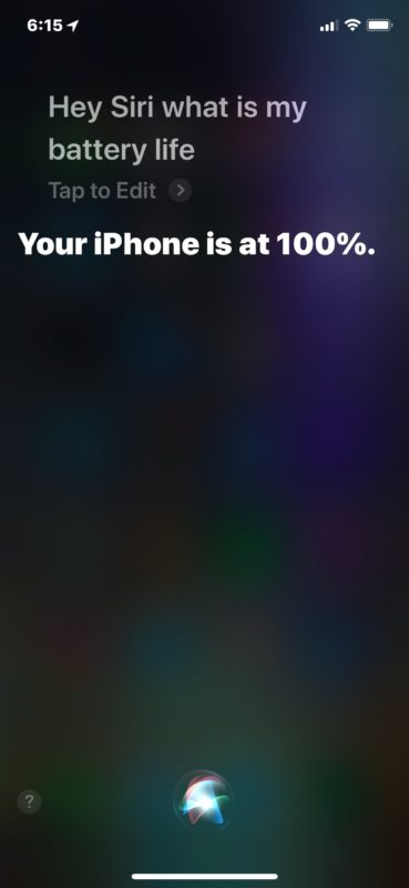Get battery life remaining from Siri on iPhone