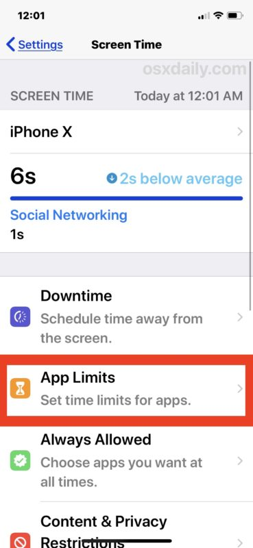 Select App Limits to limit time use for apps in iOS