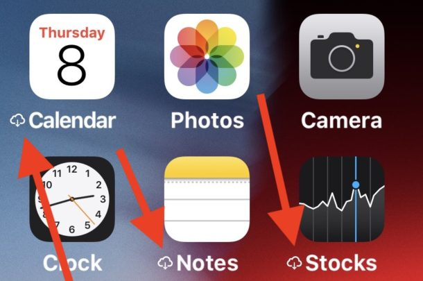 Cloud symbol next to app name on iPhone or iPad