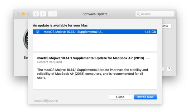 MacOS 10.14.1 Supplemental Update  for MacBook Air
