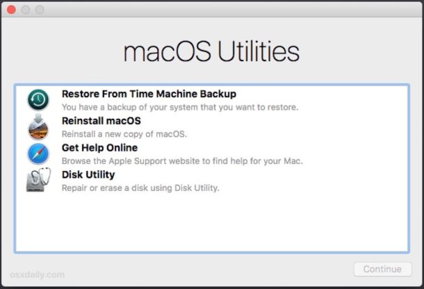 MacOS Recovery Mode options at MacOS Utilities screen