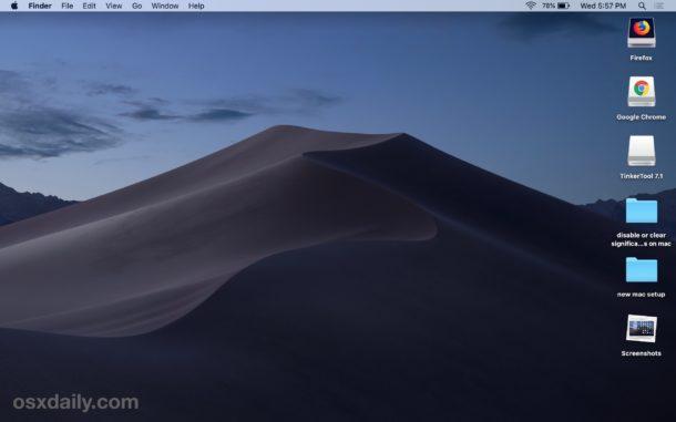 Stacks enabled on the Mac desktop