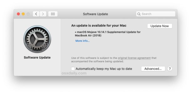 Supplemental Update for MacBook Air 2018