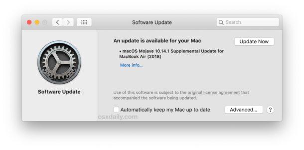 Supplemental Update for MacBook Air 2018