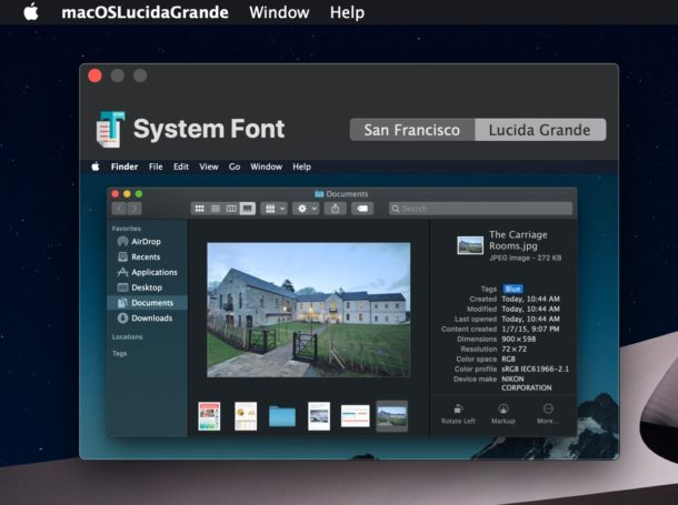 Get Lucida Grande as system font in MacOS Mojave