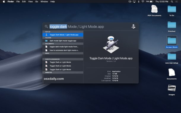 Toggle Dark Mode or Light Mode from Spotlight on Mac