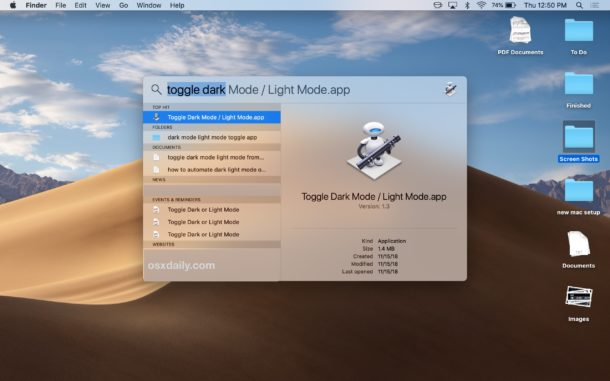 How to turn dark mode on or off from spotlight on Mac