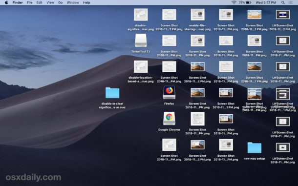 A messy desktop before Stacks enabled on Mac