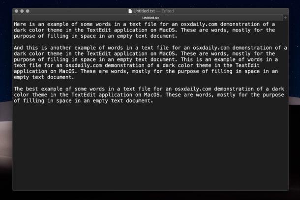 Dark mode in TextEdit