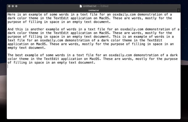 Normal light background in TextEdit on Mac