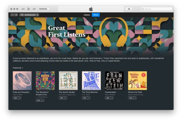 Free classic audiobooks from Apple