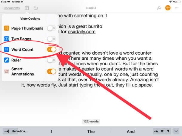 How to enable word counter in Pages for iOS