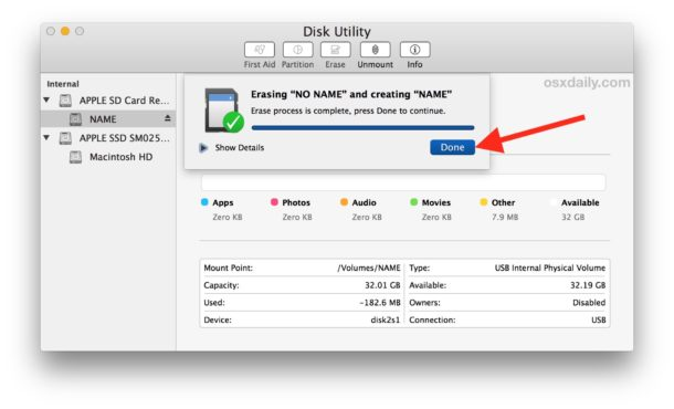 formater carte sd raspberry How to Format an SD Card on Mac | OSXDaily